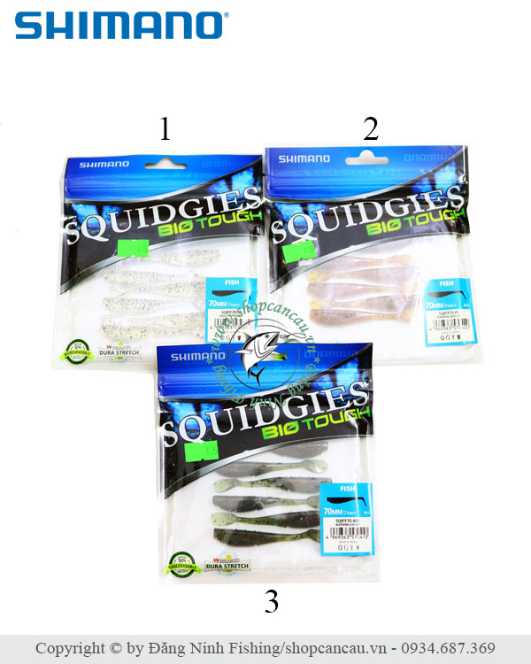 Mồi mềm Shimano Squidgies BioTouch - 7cm - 3.5gr - Made in Japan